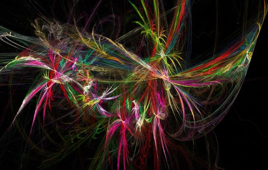 Fractal image on a dark background of colored lines intricately woven into a beautiful pattern .