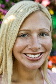 Portrait of mid adult blond caucasian woman