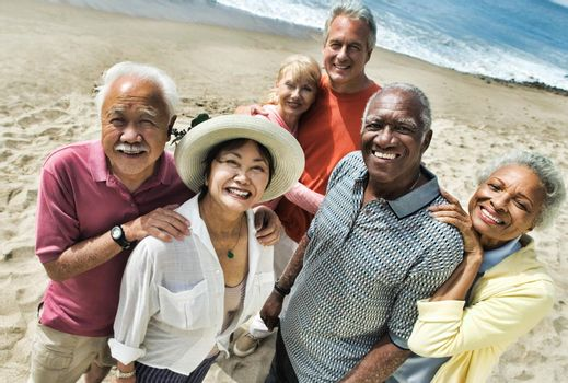Group of multi ethnic Friends at the Beach