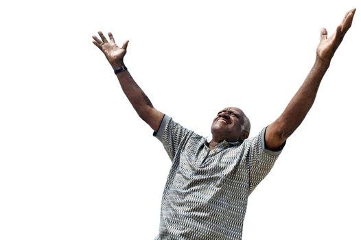Cutout of african american man raising his hands