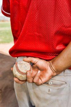 Close up photo of Pitcher Holding Baseball