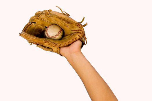 Cutout of Baseball Caught in Glove