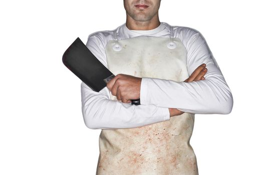 Cutout of a butcher holding cleaver with arms crossed