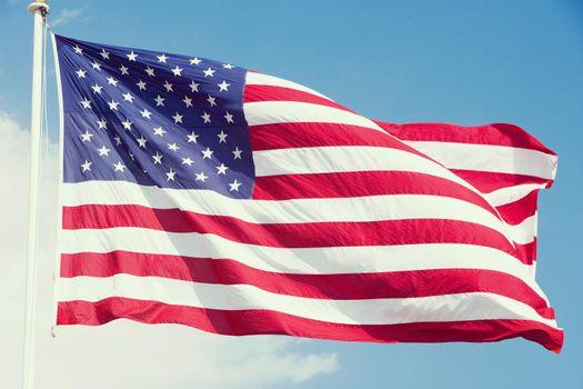 Close up shot of Waving American Flag