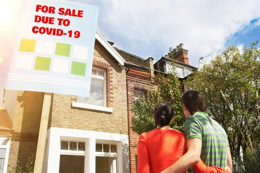 Rear view of young couple looking at new on sale due to covid-19
