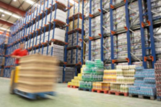 Blurred photo of parcel of warehouse