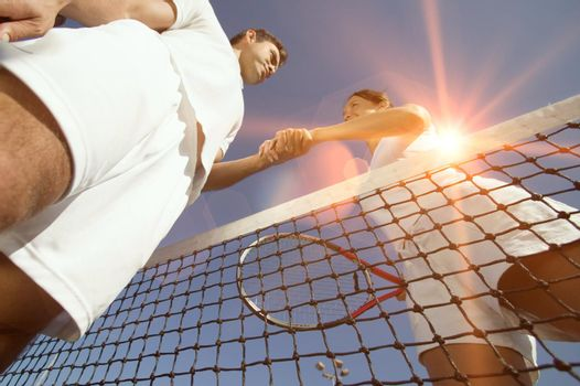 Low angle view of Tennis Players greeting each other