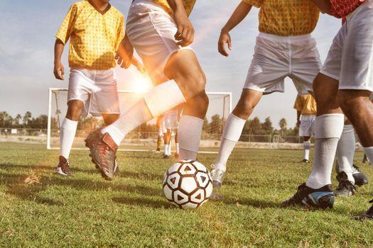 Photo of football players on training