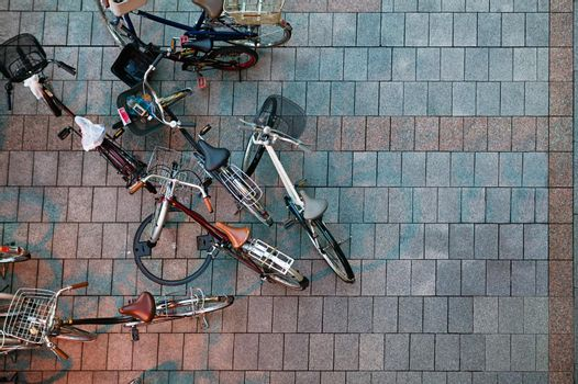 Aerial view of bicycles with nobody