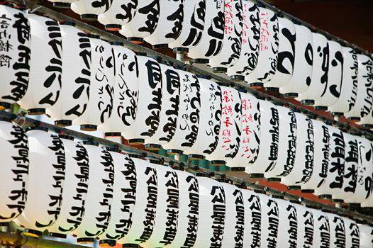 Row of japanese paper lanterns