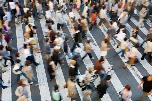 Blurred Japanese Crosswalk Crossing