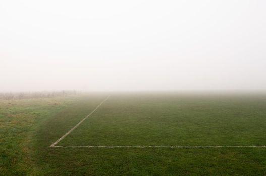 Fog above soccer field