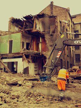Man at demolition site