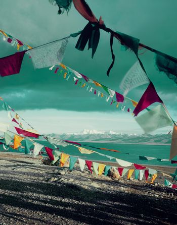 Prayer Flags by Lake in China
