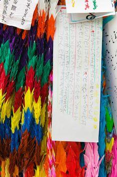 Japan Hiroshima Peace Memorial Park paper cranes a