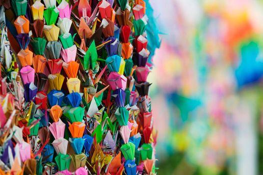 Japan Hiroshima Peace Memorial Park colorful paper cranes
