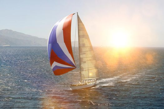 Sailboat in Sail with strong lens flare