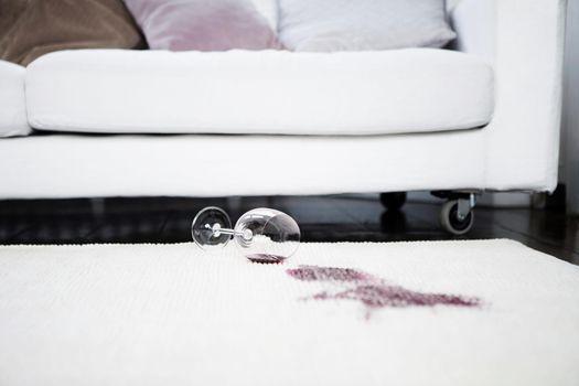 Spilt red wine on rug