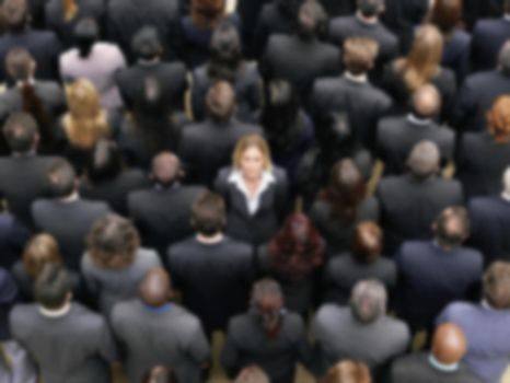 Blurred photo of business group crowd