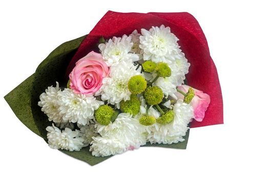 Beautiful bouquet of roses and chrysanthemums in decorative packaging. Presented on a white background.