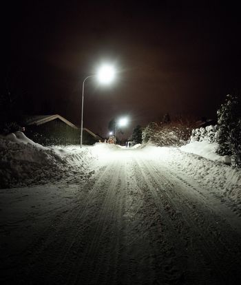 Snow-covered Street at Night