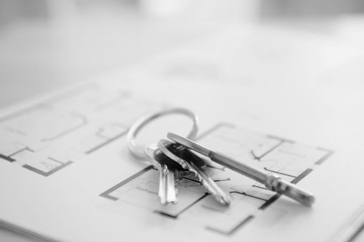 Black and White Photo of house keys on property floor plans