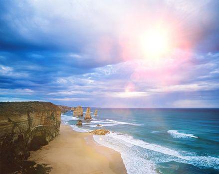 Coastline with sea and beach and sky