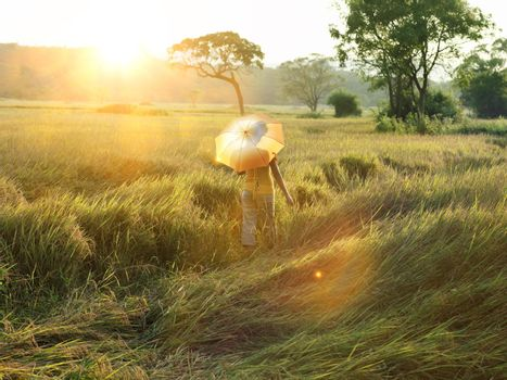 Woman walking in field with parasol protecting her from the sunshine