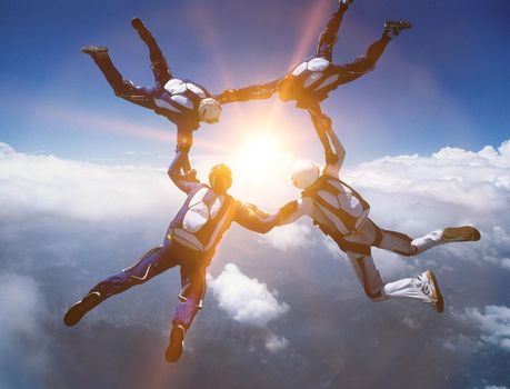 Four Skydivers in Formation