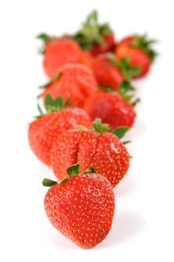 Studio shot of strawberries on white background