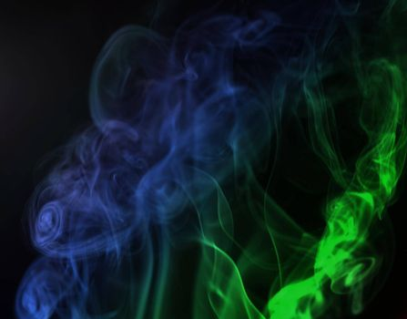 Abstract Smoke Texture Colorful Isolated Black Background.