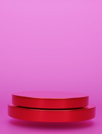 Red geometric circular background vertical image display podium prototype simple podium and commercial product concept pink background 3d rendering
