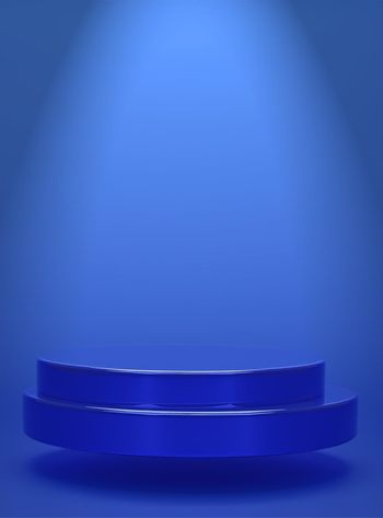 Blue geometric circular background vertical image showing simple podium prototype and commercial product concept 3D rendering