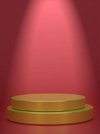 Vertical picture golden geometric sphere background display podium prototype simple podium and commercial product concept red background scene 3d rendering.