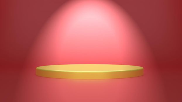 Golden geometric sphere background simple podium prototype pallet display and commercial product concept scene red background 3d rendering.