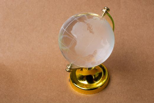 Glass globes of planet earth. Globalization and markets. Preservation of the environment.