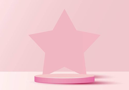 3D minimal scene cylinder podium in soft pink background with star shape backdrop. Display show cosmetic product, showcase, shop front. Vector illustration