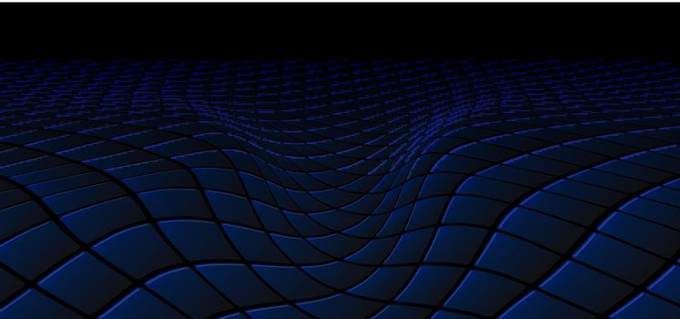 Abstract technology concept black and blue square pattern wave perspective background and texture with space for text. Repeat geometric grid. vector illustration