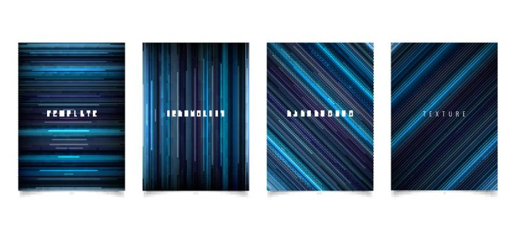Set of brochure template abstract technology style blue light lines texture on dark background. Vector illustration