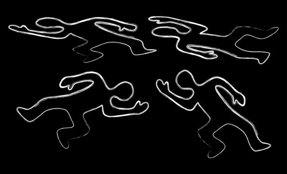 Dead body icon set. Chalk contour of murder victim figure. Killed human symbol isolated on black. Vector crime illustration.