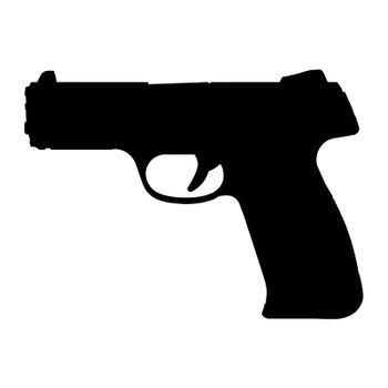 Gun silhouette icon. Black handgun symbol. Vector shape isolated on white.