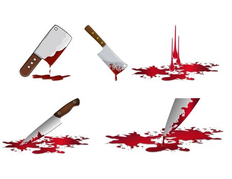 Bloody knife set. Murder weapon with red blood stains. Criminal vector illustration isolated on  white.