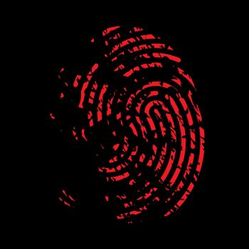 Bloody fingerprint icon. Murder biometrics mark illustration. Mystery criminal trace isolated on black background.