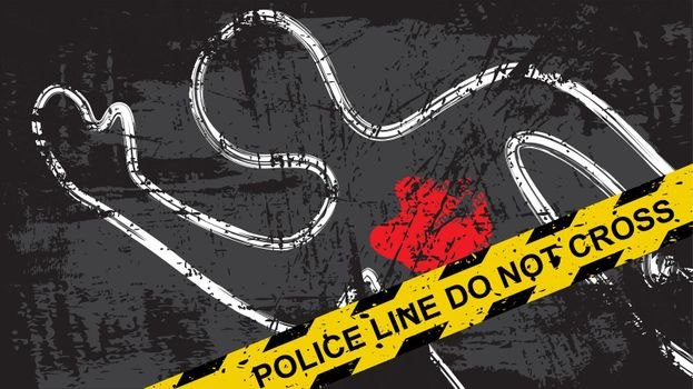 Crime scene background with police yellow tape and dead body with blood. Vector illustration of criminal mystery murder.