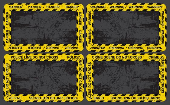 Grungy criminal wallpaper with police tape. Horizontal illustration with copy space. Great for accident or murder scene. Vector grunge background template for your design.