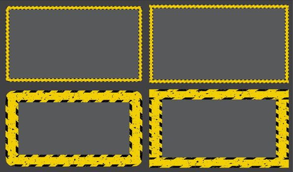 Construction tape yellow striped frame. Caution border line background set. Restricted zone sign template. Vector design.