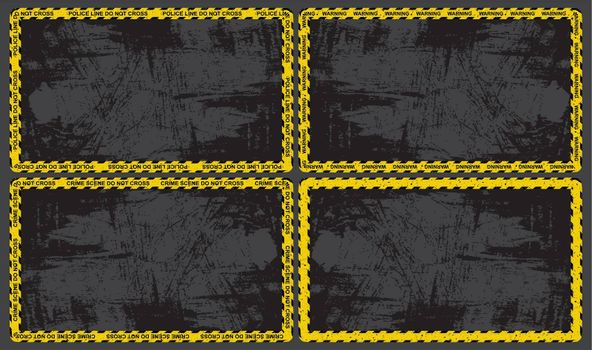 Warning tape border with grunge empty space for text. Black and yellow stripes on ribbon. Great for murder evidence  background frame.