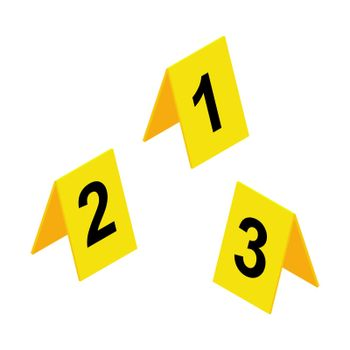 Crime scene markers icon. Yellow plastic investigation label design set with number one, two, three. Criminalistic vector illustration isolated on white background.