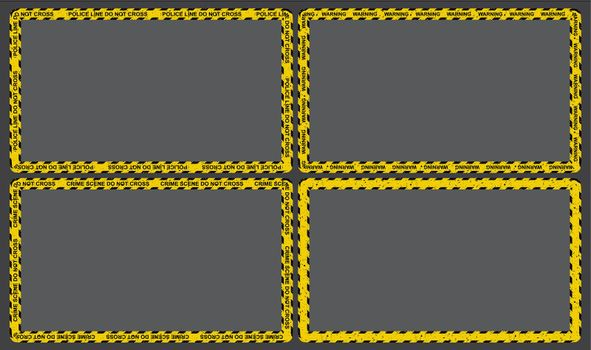 Police line border with black and yellow stripes. Crime scene frame with safety tape. Vector rectangle background collection.