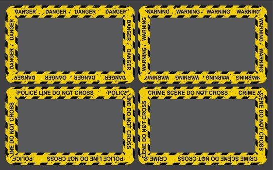 Crime yellow tape frame set. Empty border collection with police strip ribbon. Vector rectangle criminal backgrounds with copy space.